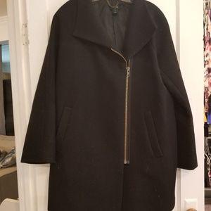 JCrew Black Wool Coat with gold zipper SIZE 10